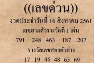 หวยเด็ด เลขด่วนกองสลาก 16/8/61